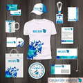 Corporate identity business photorealistic design template. Classic blue stationery template design. Watch, T-shirt, cap Royalty Free Stock Photo