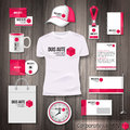 Corporate identity business photorealistic design template classic pink stationery template watch t shirt cap package and Stock Image