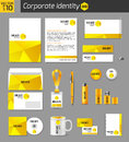 Corporate identity business photorealistic design template classic yellow stationery template documentation for Stock Images
