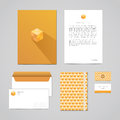 Corporate identity design template documentation for business folder letterhead envelope notebook and business card geometr Royalty Free Stock Images