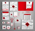 Corporate Identity set with gray wave ornament and red central element