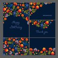 Corporate identity. Set of greeting cards, seamless texture. Motif with birds ravens and flowers. Flat style. Royalty Free Stock Photo