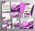 Corporate Identity set with violet pink pattern. Royalty Free Stock Photo