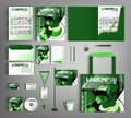 Corporate identity template. Green set with paint stains.