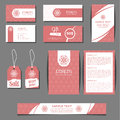 Corporate identity vector templates set with freehand floral logo Royalty Free Stock Photo