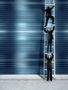 Corporate ladder - blue version Royalty Free Stock Photo