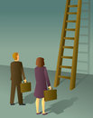 Corporate Ladder Man and Woman Stock Photo