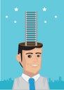 Corporate Ladder Reaching Stars Vector Illustration