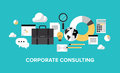 Corporate management and consulting concept flat design style modern vector illustration of business financial planning office Stock Photography