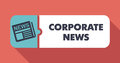 Corporate news concept on scarlet in flat design with long shadows Royalty Free Stock Photo