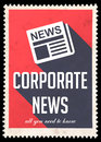 Corporate News on Red in Flat Design. Royalty Free Stock Image