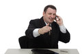 Corporate officer communicates on cellphone Royalty Free Stock Photo