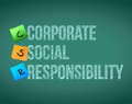 Corporate social responsibility board posts illustration design over chalkboard background Royalty Free Stock Image