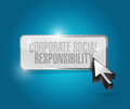 Corporate social responsibility button illustration design over a blue background Stock Photography