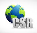 Corporate social responsibility globe sign illustration design over a white background Royalty Free Stock Photos