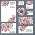 Corporate styl set of templates for cd disks envelopes notebooks credit card business card and invitation card with doodle Stock Photography