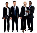 Corporate team of four posing with tablet pc Royalty Free Stock Images