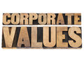Corporate values business ethics and integrity concept isolated text in vintage letterpress wood type printing blocks Royalty Free Stock Photography