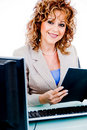 Corporate woman looking at file work Royalty Free Stock Photo