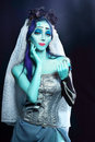 Corpse bride halloween sorrow scene of a under blue moon light beautiful ghost zombie Royalty Free Stock Photos
