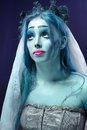 Corpse bride under blue moon light Royalty Free Stock Photography