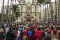 Corpus christi holyday sao paulo on front of sé cathedral brazil Royalty Free Stock Photo