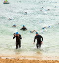 Corralejo april men finish the swimming part of the race fuerteventura triathlon in fuerteventura spain Stock Photos
