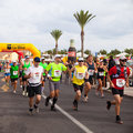 CORRALEJO - OCTOBER 30:  Runners start the race Royalty Free Stock Image