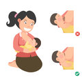 Correct breastfeeding position.illustration Royalty Free Stock Photo