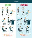 Correct And Incorrect Posture Flat Icons Royalty Free Stock Photo
