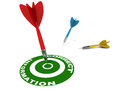 Correct information concept red dart hitting the bulls eye on the right Royalty Free Stock Images