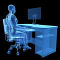 Correct sitting posture d rendered medical illustration Stock Photography