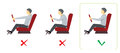 Correct spine posture for driver. Vector infographics