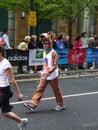 Corredores de la diversión en el maratón el 25 de abril de 2010 de Londres Foto de archivo libre de regalías