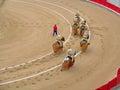 During corrida bullfighting cavaleiros in barcelona Stock Image