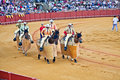 Corrida cuadrillas defile at the real maestranza de caballeria before a bullfight inseville spain royal cavalry of seville is it Stock Photos