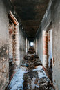 Corridor in abandoned house Royalty Free Stock Photography