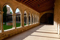 Corridor and arcs on st hilaire abbey in aude france Royalty Free Stock Photography