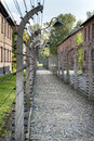 Corridor of electrified barbed wire fences in auschwitz ii birkenau extermination camp brzezinka poland october separating prison Stock Photo