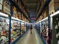 Corridor inside the hypermarket Selgros Royalty Free Stock Photo