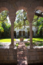 Corridor in a monastery garden view from at an old south florida Royalty Free Stock Image