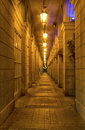 Corridor in the night lighted into Royalty Free Stock Photos