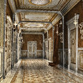 Corridor in a palace ornamented fantasy Royalty Free Stock Photos