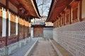 Corridor between traditional architectures in korea Royalty Free Stock Photo