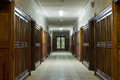 Corridor with wooden doors in the faculty of physics in moscow state university which was built in Royalty Free Stock Photos