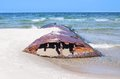 Corroded iron tank on the baltic beach hel poland Stock Photography