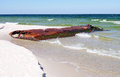 Corroded iron tank on the baltic beach hel poland Royalty Free Stock Images