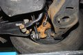 Corrosion on the car suspension of passenger cars Stock Photos