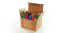 Corrugated cardboard box open with crayons inside Royalty Free Stock Photo