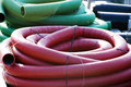 Corrugated plastic pipes Royalty Free Stock Photo